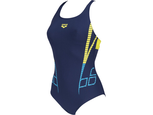 arena Shiner Swim Pro Back One Piece Badpak Dames, navy/soft green